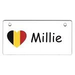 Germany Heart Flag Crate Tag Personalized With Your Dog's Name